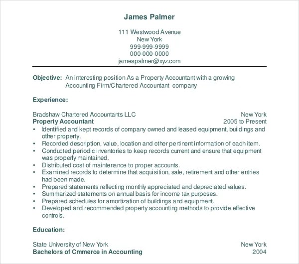 20+ Accountant Resume Templates in PDF Free  Premium Templates - property accountant resume