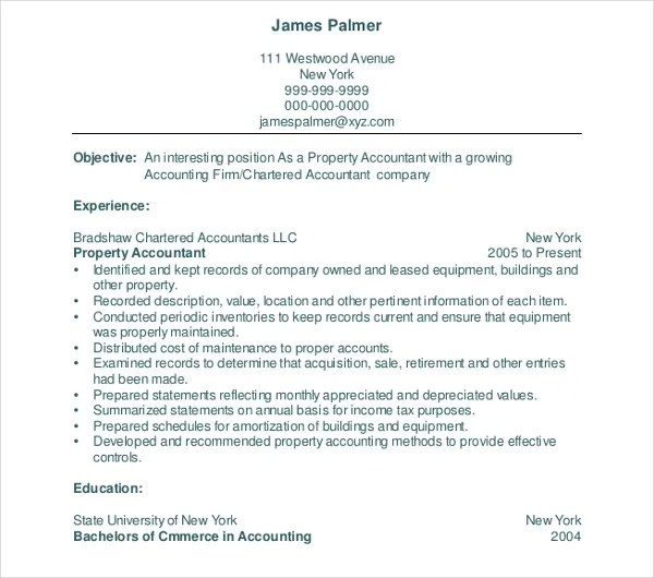 property accountant resume - 28 images - sle accounting resumes 28