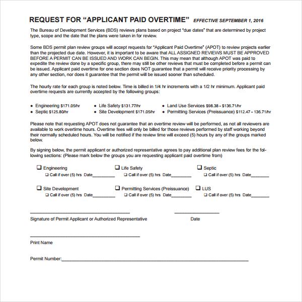 5+ Overtime Permit Form Templates Free  Premium Templates