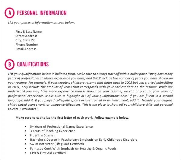 10+ Nanny Resume Templates - PDF, DOC Free  Premium Templates