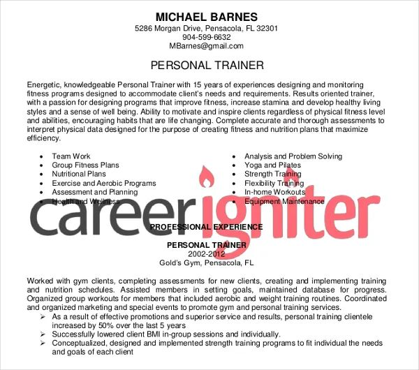 resume samples personal trainer
