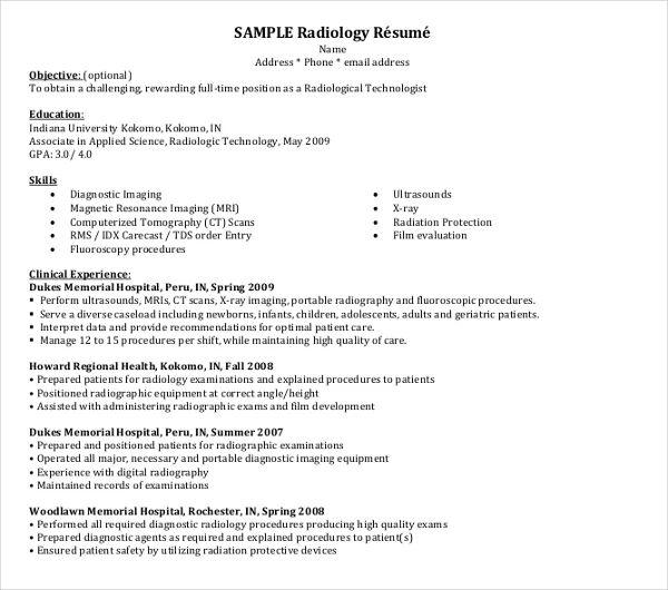 radiology resume template