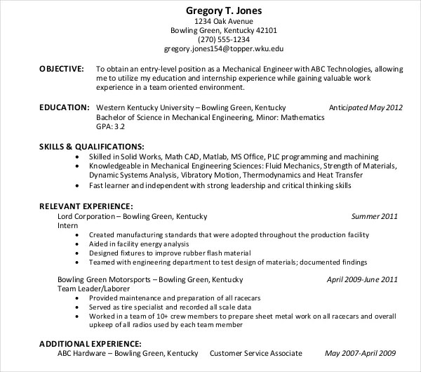 10+ Engineer Resume Samples - PDF, DOC Free  Premium Templates - sheet metal mechanic sample resume