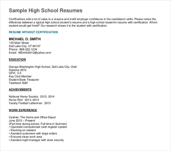 high school objectives resume examples