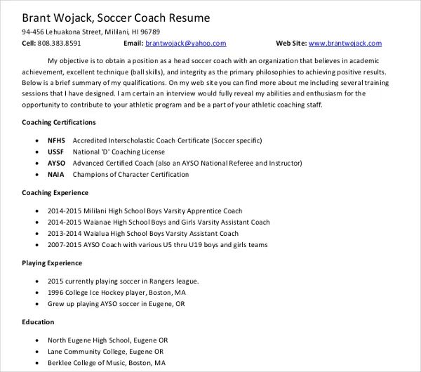 sample resume coach
