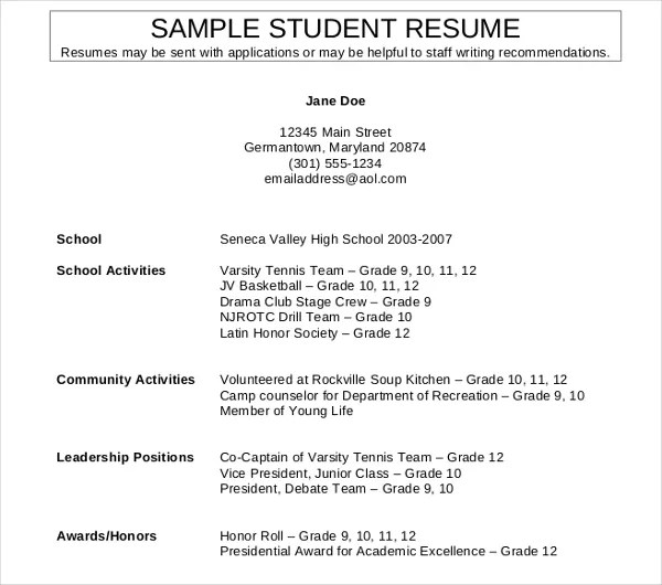 11+ High School Student Resume Templates - PDF, DOC Free  Premium