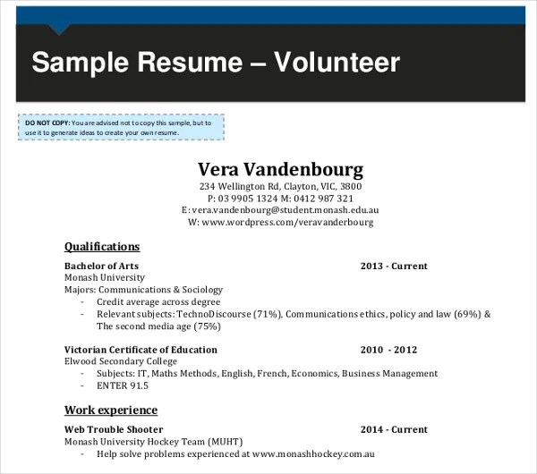 10+ Volunteer Resume Templates - PDF, DOC Free  Premium Templates - sample resume with volunteer work