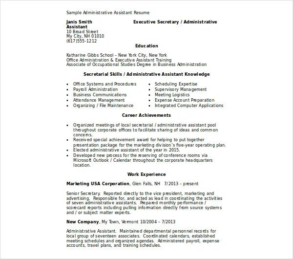 10+ Administrative Assistant Resume Templates - PDF, DOC Free