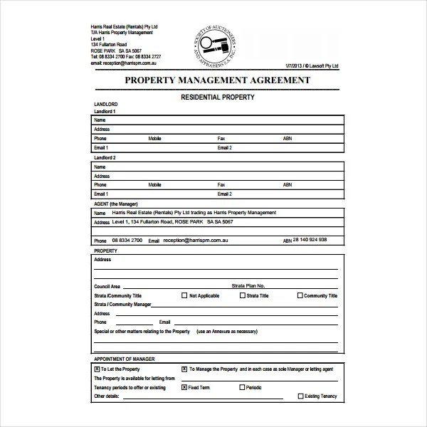 9+ Property Management Agreement Templates - PDF, Word Free