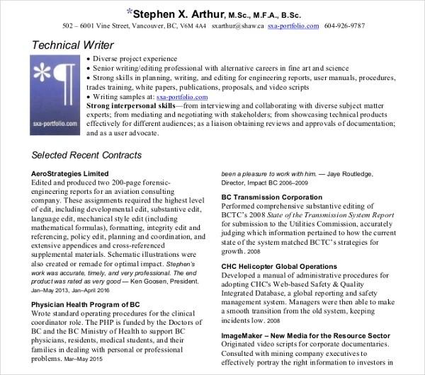 10+ Technical Writer Resume Templates - PDF, DOC Free  Premium - technical writer resume samples