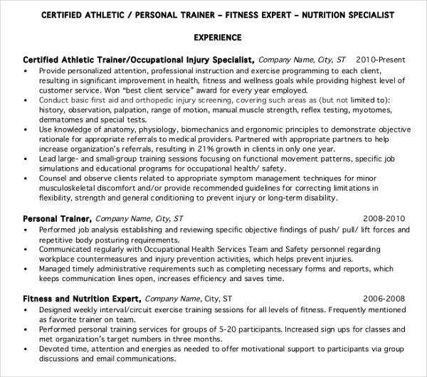 8+ Personal Trainer Resume Templates - PDF, DOC Free  Premium - certified personal trainer resume