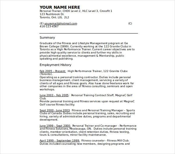 8+ Personal Trainer Resume Templates - PDF, DOC Free  Premium - zumba instructor resume