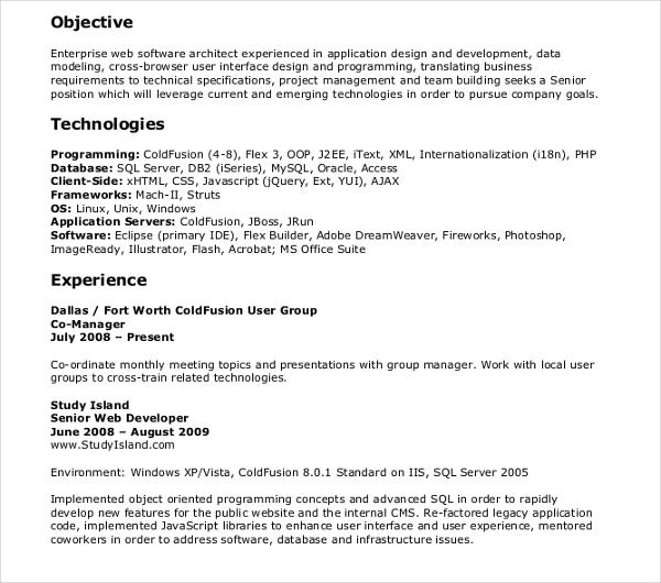 10+ Web Developer Resume Templates - PDF, DOC Free  Premium Templates