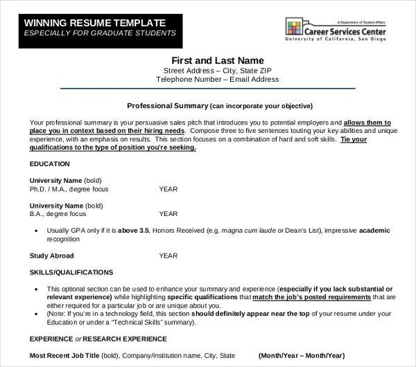 ucsd resume samples
