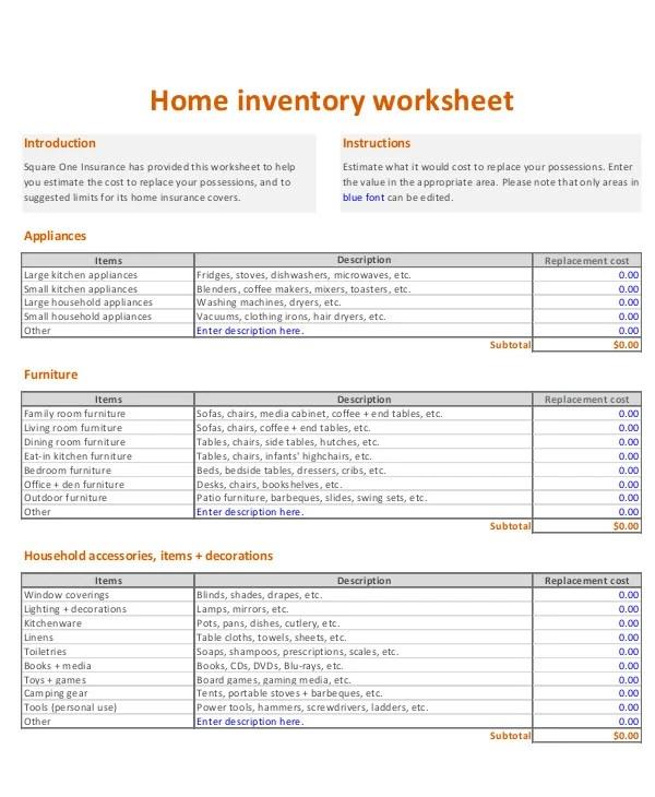 6+ Home Inventory Worksheet Templates - PDF Free  Premium Templates
