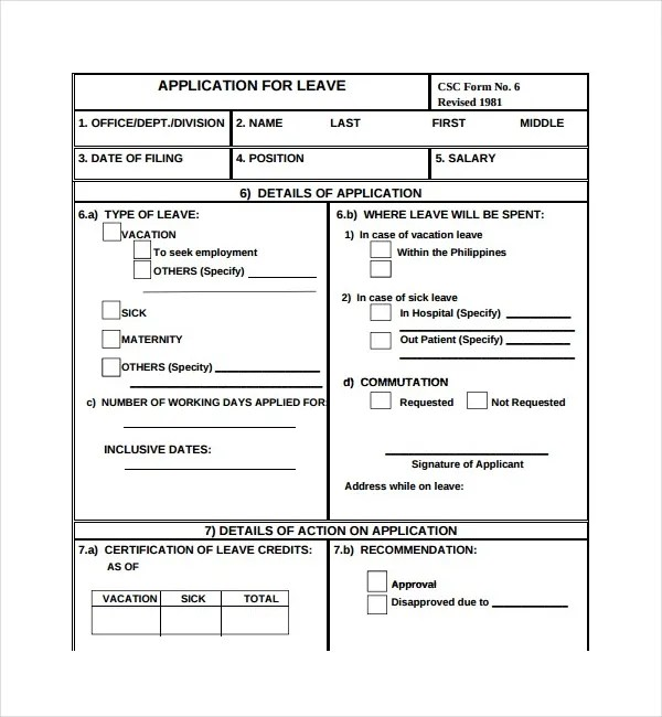 3+ Leave Application Form Templates - PDF Free  Premium Templates - leave form templates