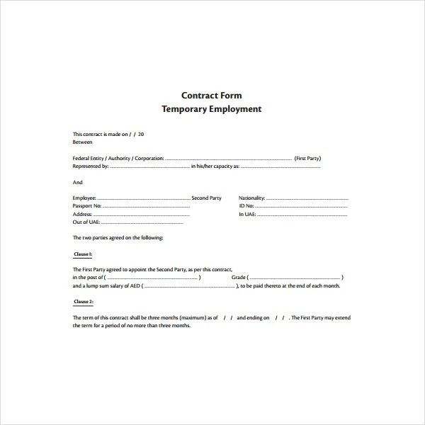 temporary employment contract template free - temporary employment contract