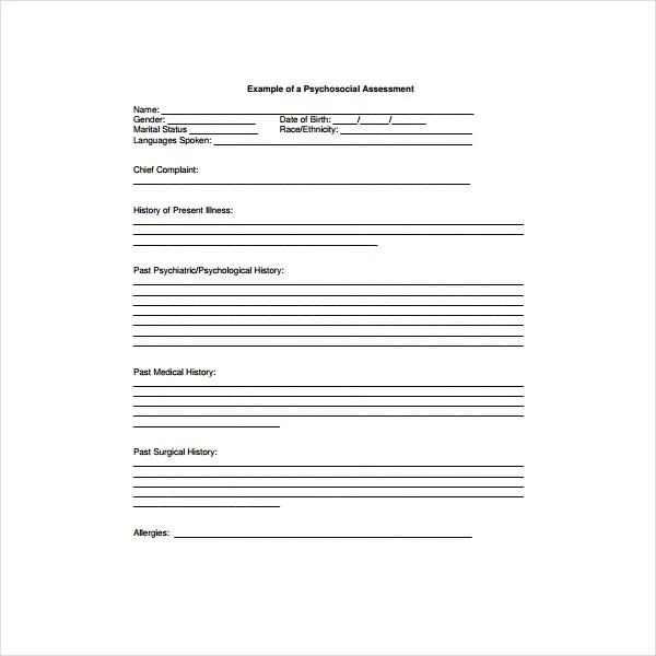 6+ Psychosocial Assessment Templates - PDF Free  Premium Templates - psychosocial assessment