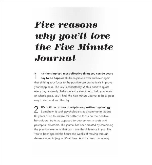 2+ Five-Minute Journal Templates - PDF Free  Premium Templates