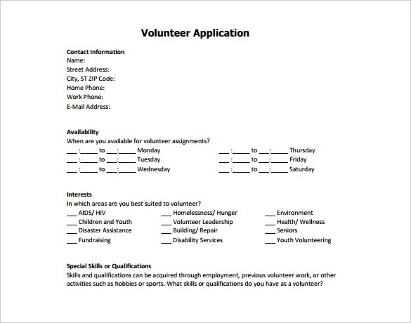 5+ Volunteer Application Form Templates - PDF Free  Premium Templates