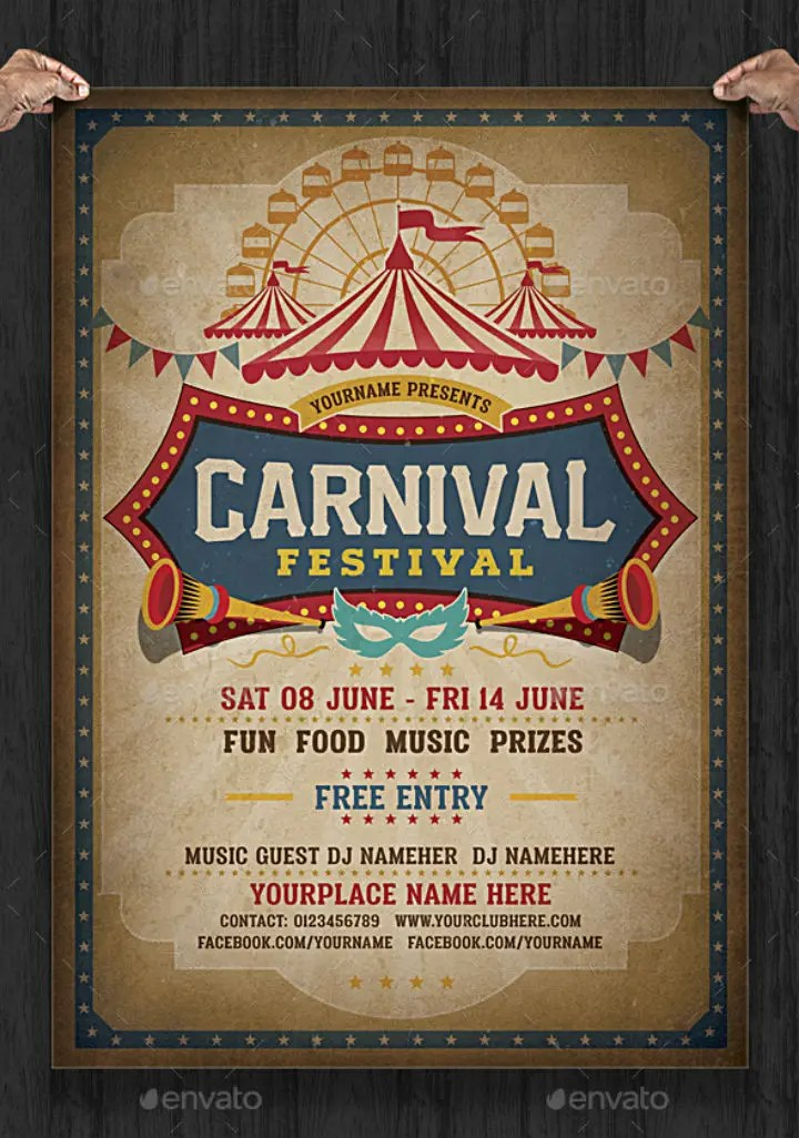 Invitation Card Template Psd 16+ Carnival Party Invitation Designs & Templates - Psd