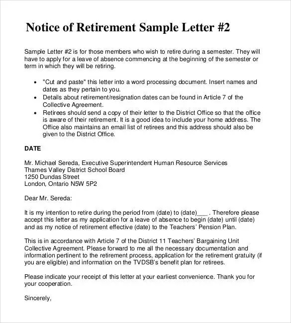 2+ Simple Retirement Letter to Employer - PDF Free  Premium Templates