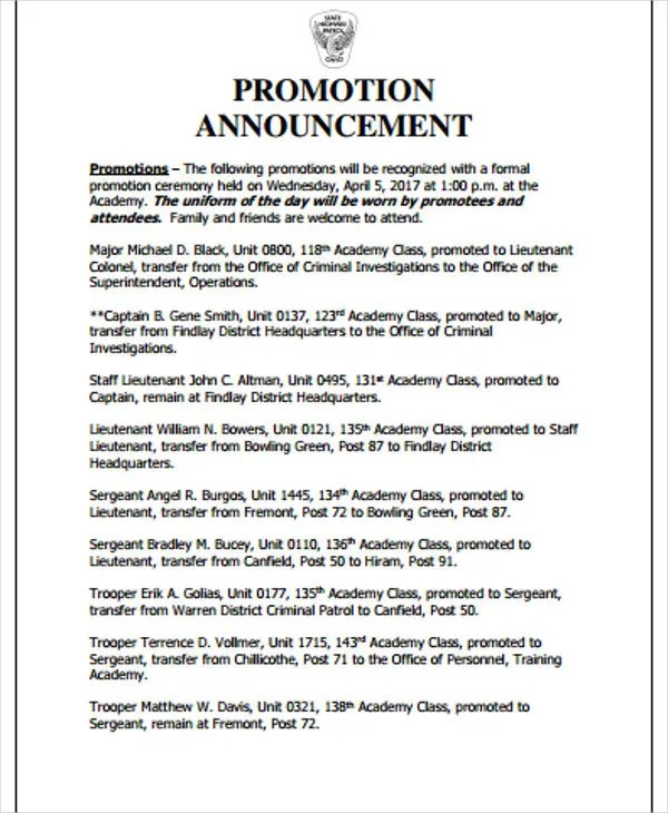 2+ Promotion Announcement Templates - PDF Free  Premium Templates