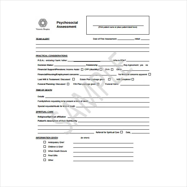 6+ Psychosocial Assessment Templates - PDF Free  Premium Templates - sample psychosocial assessment