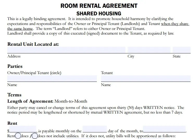 4+ Room Rent Agreement Format Templates- PDF Free  Premium Templates