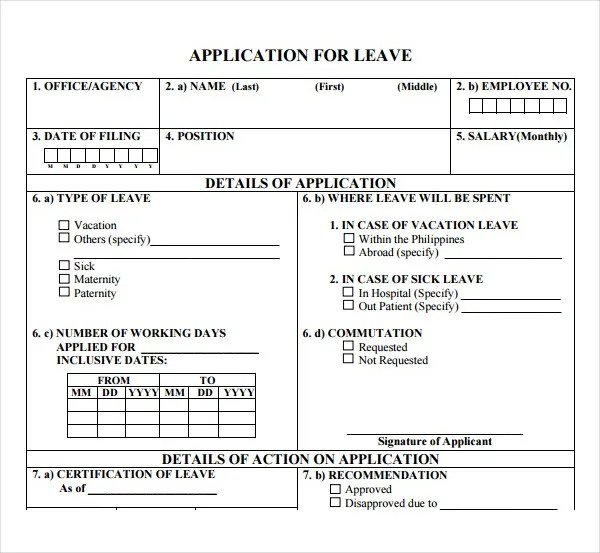 3+ Leave Application Form Templates - PDF Free  Premium Templates - leave application form template