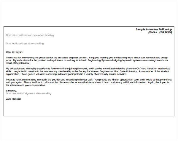 follow up interview letter template
