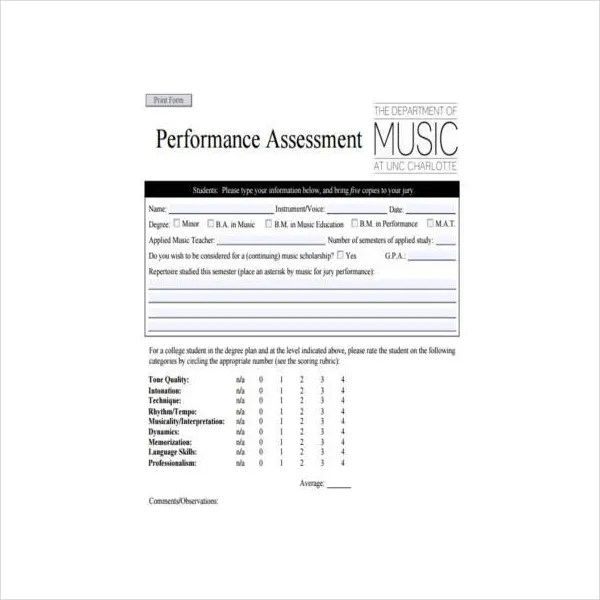 8+ Performance Assessment Templates - PDF Free  Premium Templates