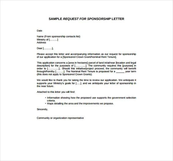2+ Sponsorship Request Letter Templates - PDF Free  Premium Templates - sample sponsorship request letter