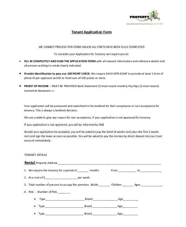 8+ Tenant Application Form Templates - PDF, DOC Free  Premium