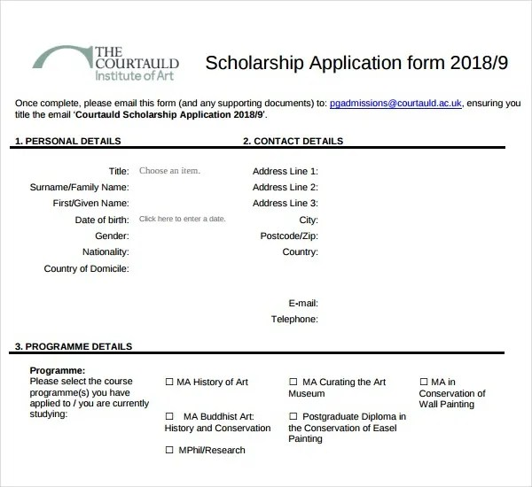7+ Scholarship Application Form Templates - PDF Free  Premium