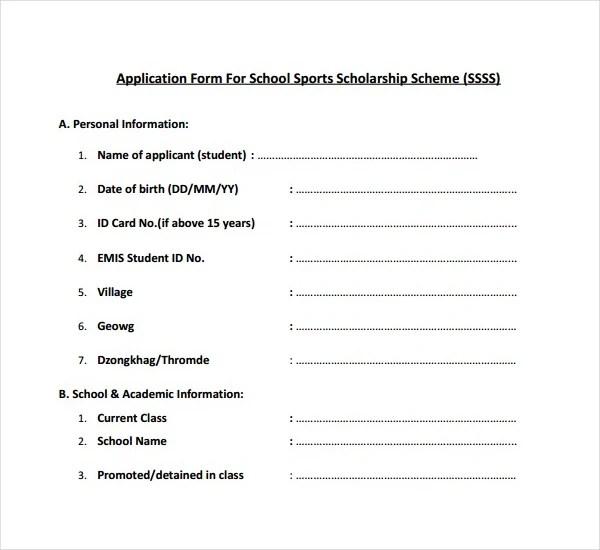 7+ Scholarship Application Form Templates - PDF Free  Premium