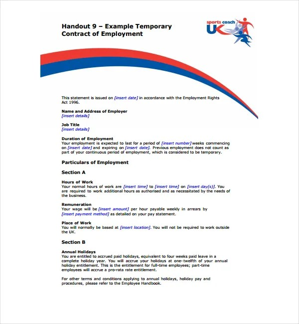 2+ Temporary Employment Contract Templates - PDF Free  Premium - temporary employment contract