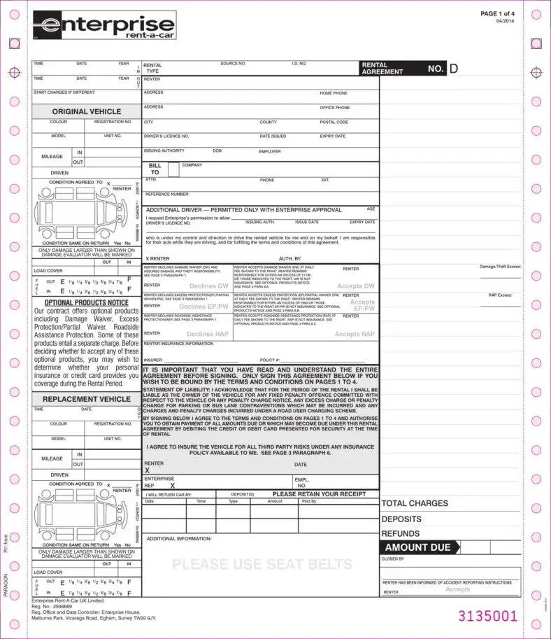 New Rental Agreement At Us Locationscar Rental Agreement Form