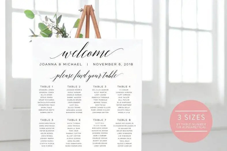14+ Guest Seating Chart Designs  Templates - PSD, AI Free - guest seating chart template