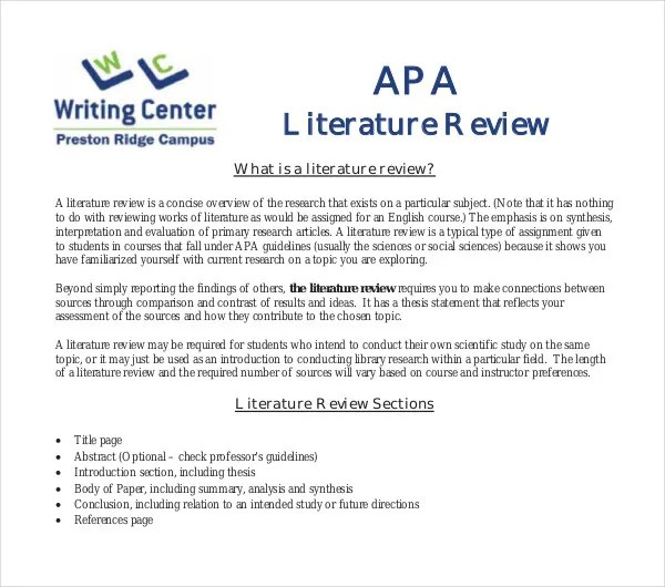 literature review outline example apa - Josemulinohouse