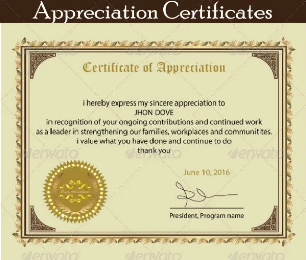 12+ Certificate of Appreciation for Student Templates - Word, PSD