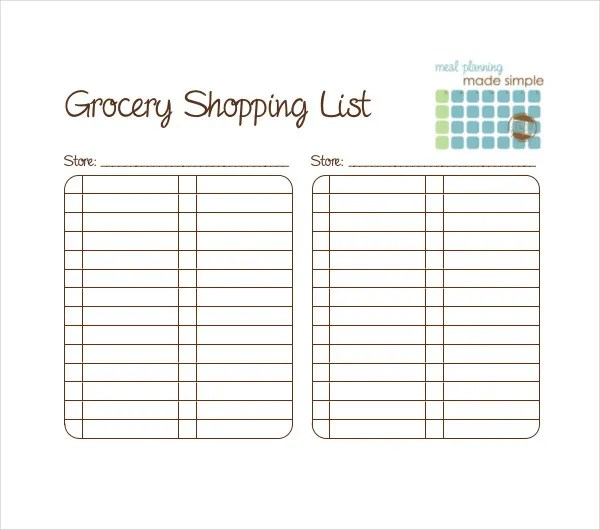 10+ Blank Grocery List Templates - PDF, DOC, Xls Free  Premium - grocery shopping list template