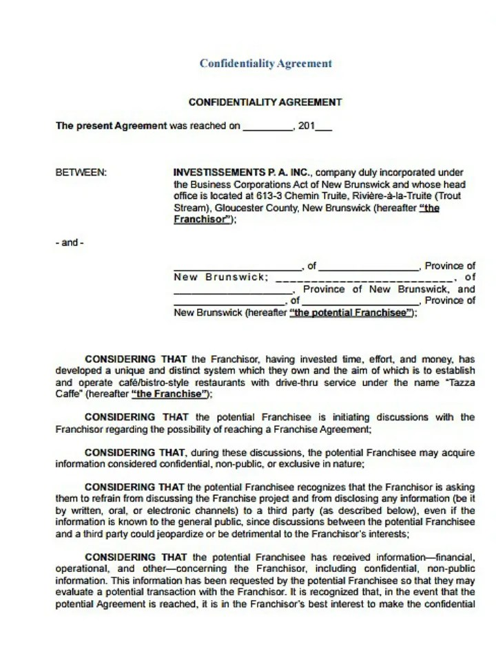 9+ Restaurant Non-Disclosure Agreement Templates - PDF, DOC Free