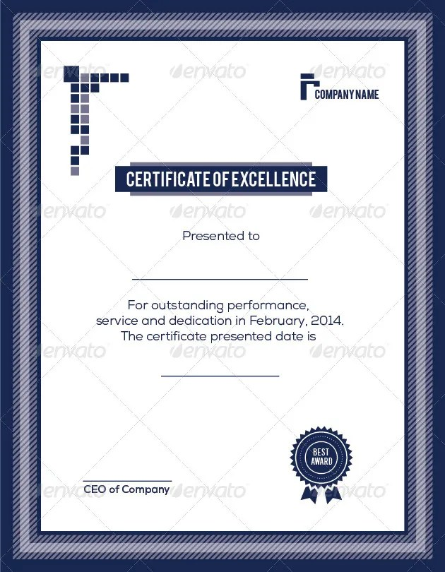 9+ Training Excellence Award Certificate Designs  Templates - PSD - excellence award certificate template
