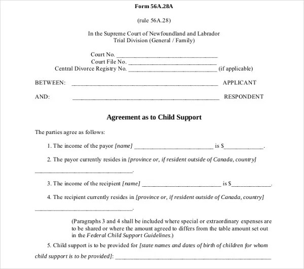 10+ Child Support Agreement Templates - PDF, DOC Free  Premium