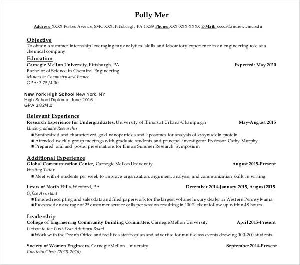 resume example sample student