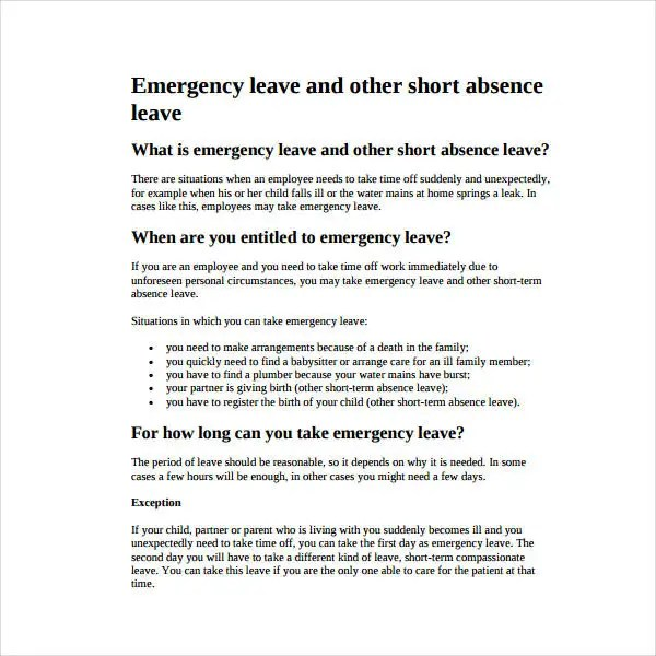 14+ Emergency Leave Letter Templates - PDF Free  Premium Templates