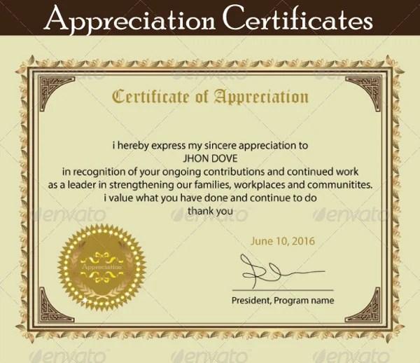 18+ Employee Certificate of Appreciation Designs  Templates - PSD