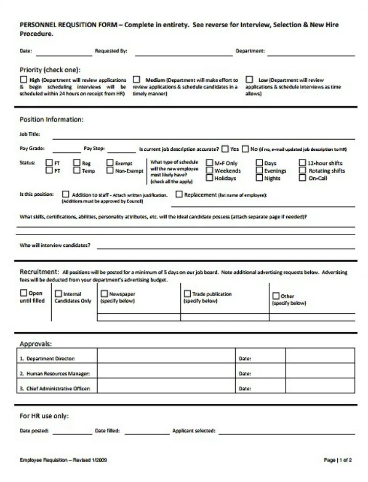 8+ Personnel Requisition Form Templates - PDF Free  Premium Templates