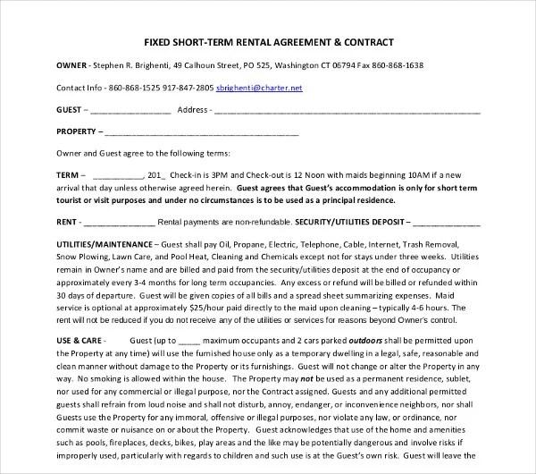 15+ Short-Term Rental Agreement Templates - PDF, DOC Free - short term rental agreement